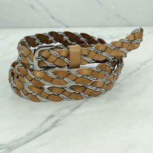 Ann Taylor Loft Skinny Thin Metallic Braided Belt